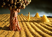 Bean and artichoke tree on a pasta and grain field