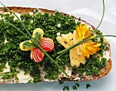 Bread & chives, decorated with cheese butterfly & flowers