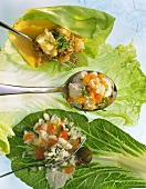 Three fillings for roulades on cabbage leaves, one on spoon