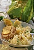 Cauliflower stew in horseradish sauce with roast meat