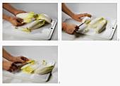 Chicoree vorbereiten: Strunk und Blätter entfernen, zerteilen