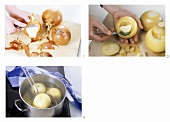 Peeling, boiling and hollowing out onions
