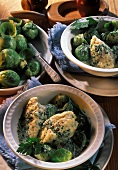 Brussels sprouts with cheese dumplings and herb sauce
