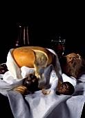 Spanish Serra de Estrela cheese, fruit, bread and wine
