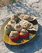 Provencal vegetables with mince stuffing on platter