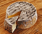 Aisy cendre, a French soft cheese,  cut into