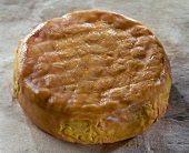 French Epoisses cheese on a light brown background