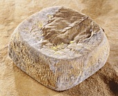 Cabra, a French goat's cheese, on brown background