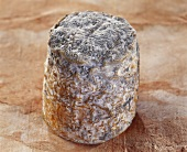 Le Villageois, a French goat's cheese, on brown background