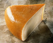 A piece of Gouda on light-brown background