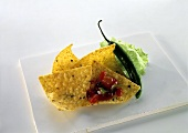Tortilla chips with salsa and green chili pepper