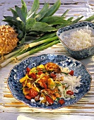 Chicken with vegetables & pineapple in ginger sauce with rice