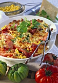 Tomato and pasta with ham and sweetcorn on platter