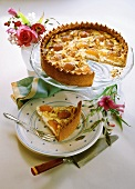 Apricot quark cake with almonds on plate and platter
