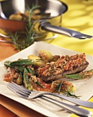 Lamb steaks in tomato crust with okra pods