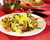 Chicken breast carpaccio on summer salads