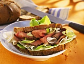 Radish sandwich with roast beef and spring onions