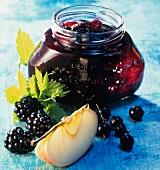 Three fruit jam with redcurrants, blackberries, apples