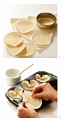 Making yufka baskets: cutting out and putting into muffin tin