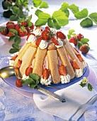 Strawberry charlotte with cream and fresh strawberries