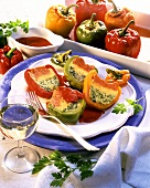 Pepper with polenta stuffing & tomato sauce; white wineglass