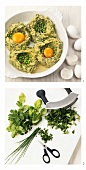 Making potato and herb nests