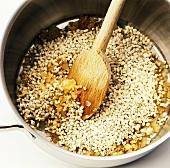 Making barley soup: roasting the pearl barley
