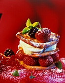 Mascarpone fancy with berries; red background