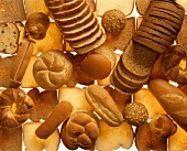 Many breads, rolls and sweet pastries