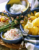 Boiled potatoes with three kinds of quark and butter