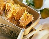 Salmon and sauerkraut bake on spoon and in baking dish