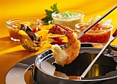 Fondue with shrimps and dips