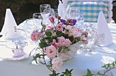 Bouquet of roses on a wedding table
