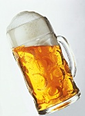 Light beer in a glass tankard