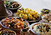 Various Moroccan dishes