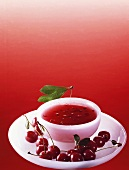 Cold soup with cherries