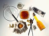 Various baking ingredients: rum, icing sugar, flour, egg etc.