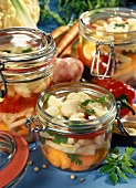 Assorted mixed vegetables in preserving jars