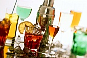 Various aperitifs on a sheet of glass