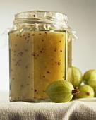 Gooseberry and kiwi fruit jam in jar