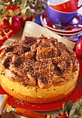 Apple truffle gateau with grated chocolate