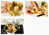 Peeling quinces, sprinkling with lemon juice and cooking