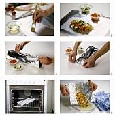 Preparing fish with tomato in foil