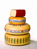 A pile of Dutch cheeses: Gouda, Leerdam, Edam
