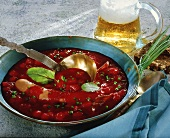 Beetroot soup with Bockwurst (pork sausage) and beer