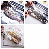 Marinating fish in aluminium foil or roasting bag