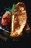 Red mullet fillet with grilled tomato and dill