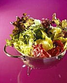 Mixed salad leaves in a stainless steel strainer