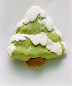 Fir tree biscuits, decorated with icing
