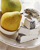 Various types of cheese (Fougeru, Selles sur cher) with pears